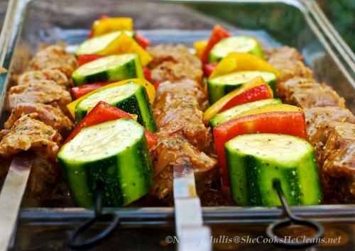 Marinated Pork Kebabs and Vegs