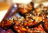 Sticky, yummy wings as photographed by tipsy, hungry cook.