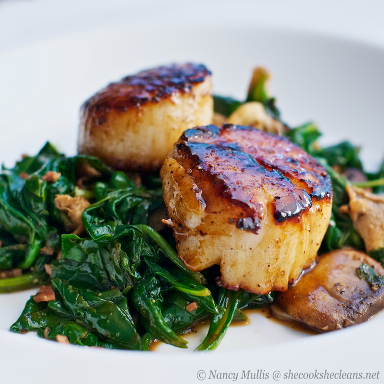 Seared Scallops with Apple Cider-Balsamic Glaze | she cooks...he ...