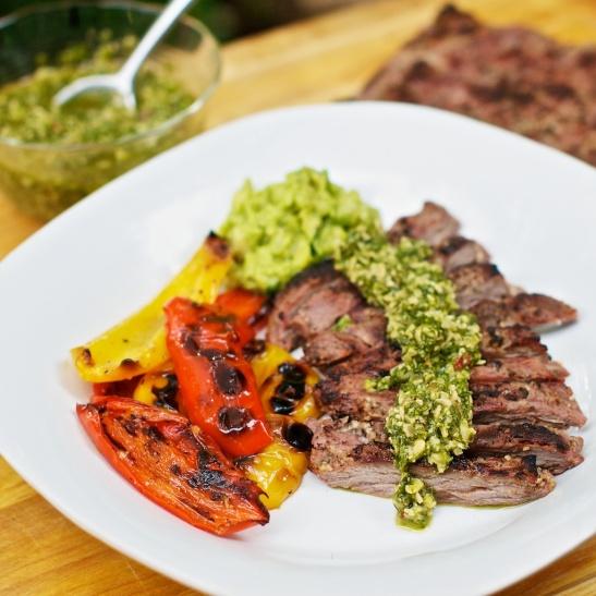 Churrasco Skirt Steak with Cilantro Pesto   she cooks...he ...