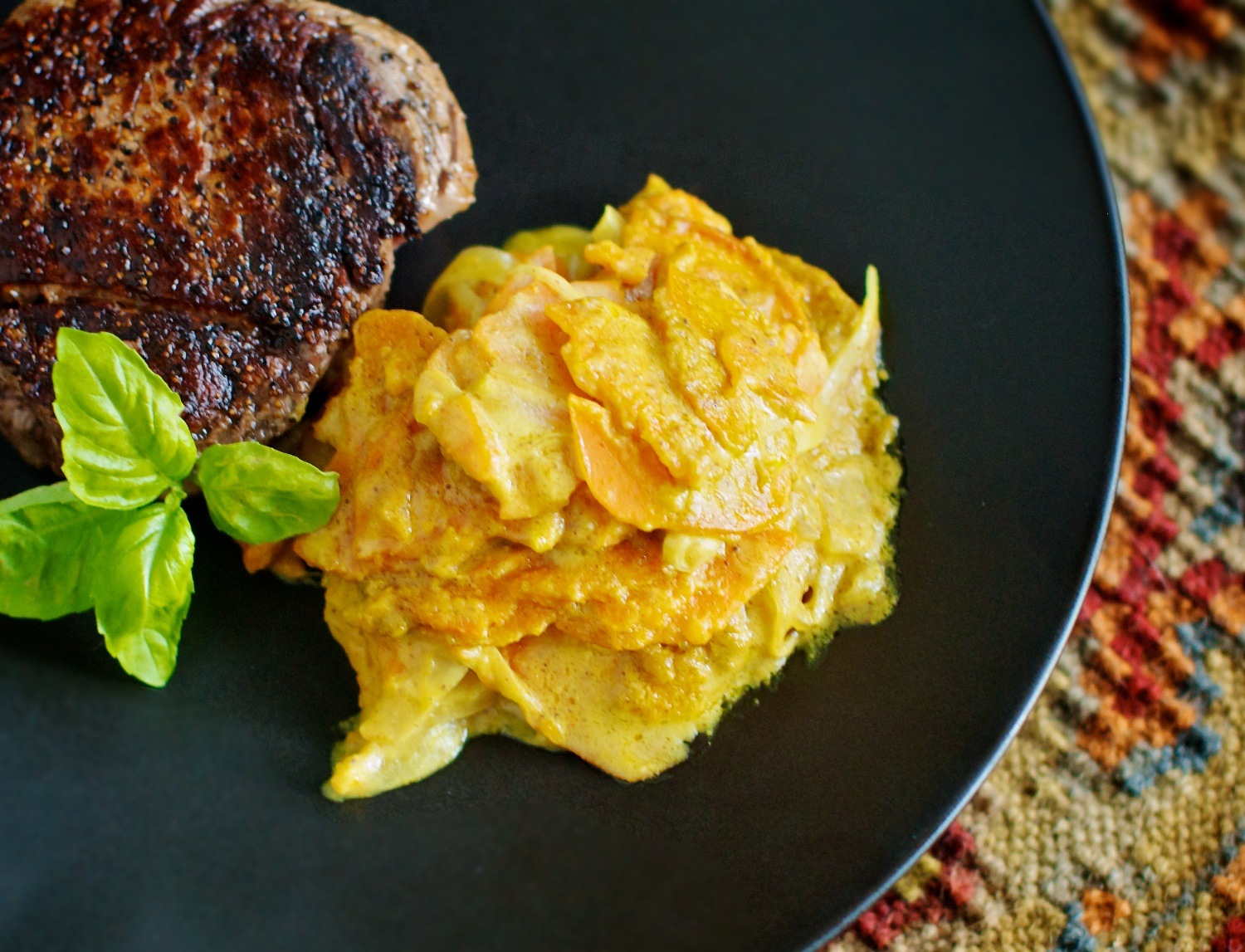 Curried Sweet Potato Gratin | she cooks...he cleans