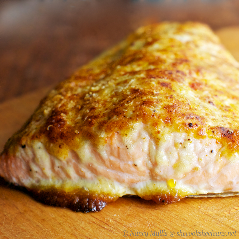 Oven roasted salmon with parmesan mayo crust she cooks for Parmesan crusted fish