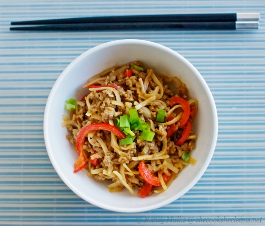 Ground pork Thai noodles