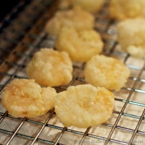 Honey walnut shrimp draining