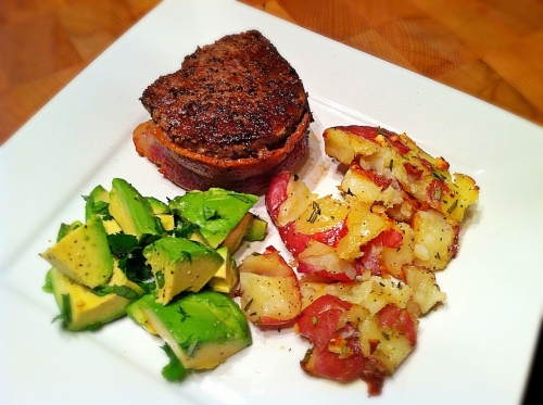 steak avocado and potatoes