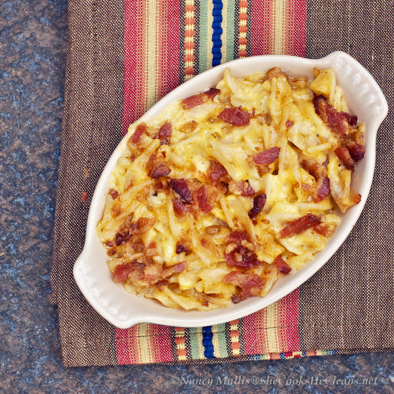 Smoky Macaroni and Cheese with Bacon Topping | she cooks...he cleans