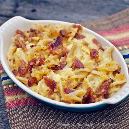 Smoky Macaroni and Cheese with Bacon Topping   she cooks...he cleans