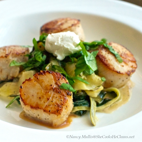Scallops with Zucchini Ribbons