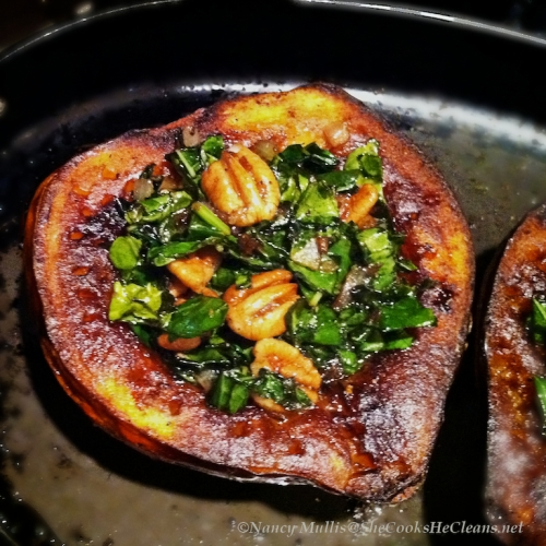 Roasted Acorn Squash with Kale and Pecans from She Cooks, He Cleans