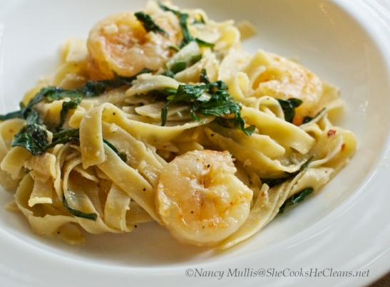 Shrimp Pasta with Kale and Garlic (gluten-free) from She Cooks, He Cleans