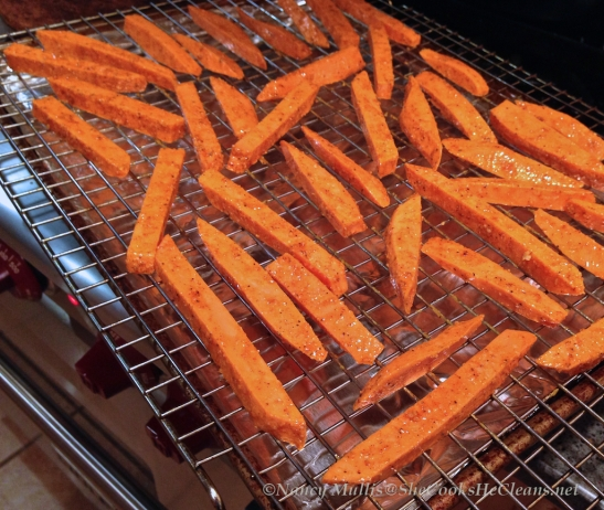 Sheet of sweet potato fries / shecookshecleans.net