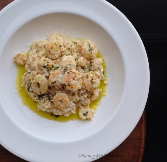 Shrimp Scampi over Risotto from SheCooksHeCleans.net