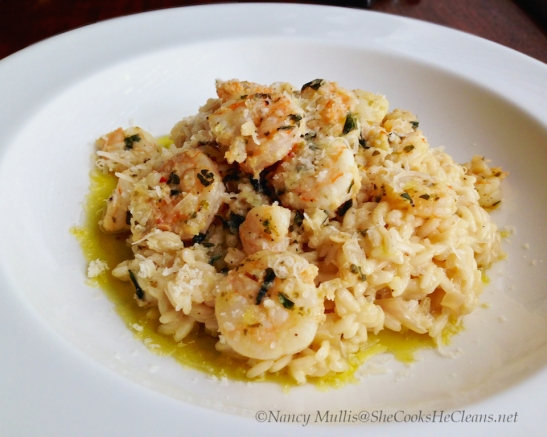 Shrimp scampi with risotto, from shecookshecleans.net